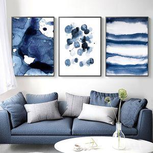 Bleu Watecolor toile Art Affiches et copies Peinture abstraite nordique Minimalisme mur Photos pour Living Room Modern Home Decor