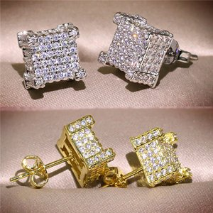 Hip Hop Earrings for Men Gold Silver Iced Out CZ Square Stud Earring With Screw Back Jewelry