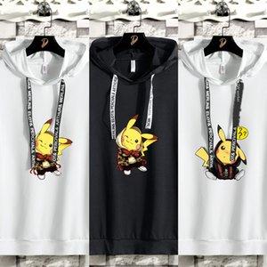 LtA1L Negro suéter blanco y del wo verano de dibujos animados con capucha apuesto ropa fina par desgaste Corea del estilo de moda de manga corta camiseta de la tapa Wo