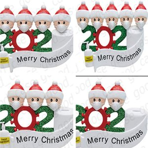 Quarantine Family Sticker Christmas Ornament cartoon Poster with Face Mask Snowman Wall Window Xmas Party Favor AAB1870
