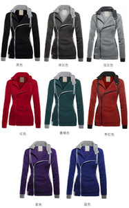 Fleece Hooded Pullover Sweatshirt 20FW Women Clothing Contrast Color Women Hoodies Casual Slopping Zipper Long Sleeve