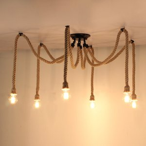 Spider chanvre corde Vintage Chandeliers Pendant Light Bar Café restaurant Boutique de vêtements E27 Edison Suspension droplight