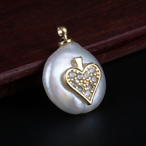 gold micro paved white cz zircon heart charms flat natural freshwater pearl bead pendant charm for diy jewelry making for choker