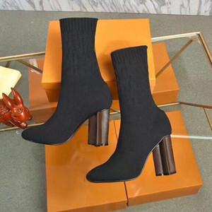 Socken Stiefel Herbst Winter Neue Frauen Schuhe Gestrickte Elastische Stiefel Sexy Frau Martin Stiefel Dicke Fersen High-Heeled Schuhe Große Größe 35-41-42