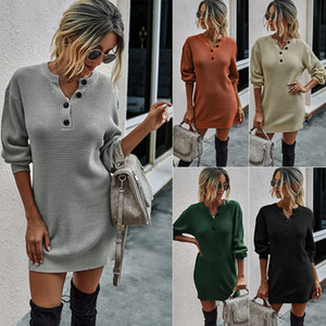 Femmes Robe pull à manches longues en tricot d'hiver Robes femme col V Boucle Casual Bodycon Femme Mode Robe Automne 050807