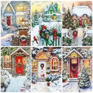 AZQSD Взрослые UNFRAME Зимние раскраски By Numbers Акриловые краски Украшение картина маслом Цифры ландшафтной DIY Рождественский подарок