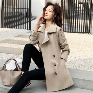 моды ветровка Женская одежда British 2020 весна осень Корейский Сыпучие Длинные плащи для женщин Хаки m369