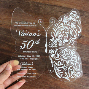 Butterfly acrylic invitation card birthday wedding engagement party supply