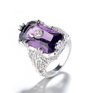 Atacado 10 Pcs Siver banhado Rectângulo Natural Amethyst roxo de cristal dedo anelar para Mulheres Jóias