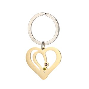 Double Hollow Heart Pendant Key Chain 304 Stainless Steel Heart Charm Key Holder Gift for Love DIY Jewelry 20pcs