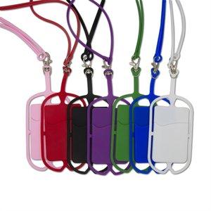 Supporto della cassa del telefono cordini in silicone con il supporto della cinghia del collo cinghia della scheda Sling collana per Universal Mobile Cell Phone OOA9141