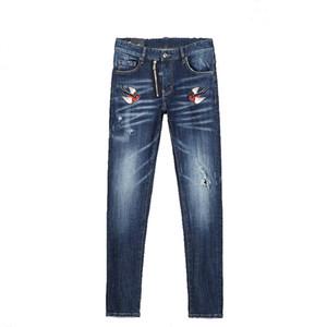 Tops Mens Ripped Slim Fit Jeans Moda Lavados Patchwork azul Hip Hop do estilista Denim Calças com furos para Homens 8225