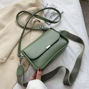 Pu сумка Женский 2020 Новый корейский стиль Все матча моды Широкий Наплечный ремень сплошной цвет Crossbody / мешок плеча площади Sling Bag