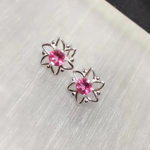 CoLife مجوهرات فضة الأزياء زهرة مسمار أقراط 5MM الطبيعية الوردي توباز وأقراط فضية 925 الوردي توباز مجوهرات