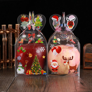 PVC Transparent Candy Box Christmas Decoration Gift Wrap Box Packaging Santa Claus Snowman Candy Apple Boxes Party Supplies RRA3515