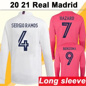 20 21 Real Madrid HAZARD MODRIC Camisas de futebol masculino de mangas compridas SERGIO RAMOS BENZEMA ISCO BALE MARIANO Casa Fora Terceiro uniforme de camisa de futebol