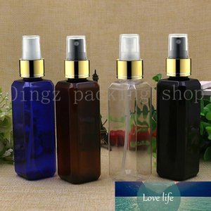 50pcs 100 ml Vaciar plástico collar de oro botella del aerosol recargable de perfume Botellas de PET atomizadores de aerosol de plástico botella cuadrada negro