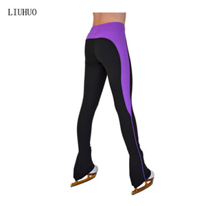 LIU HUO Ice skating long pants Figure Skating Trousers Girls adult figure skating training pants Stretch fabrics Color stripes Competition