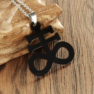 Church Satan Cross Necklace Pendant Men Jewelry Black Gothic Pagan Satanic Crucifix Unisex Jewels