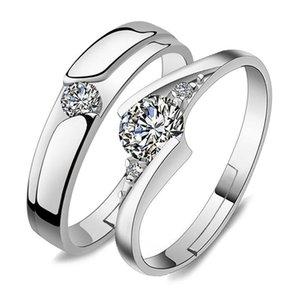 Zirkonia Einstellbare Offene Ringe, Verlobungs Paar Silber Ehering kubischer Kristall otsweet emeDS