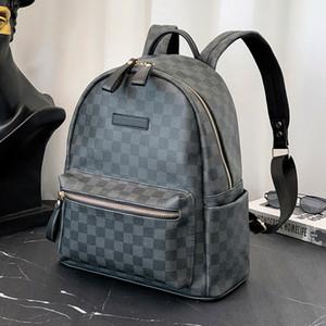 Atacado Ponto Novo Mens Backpack Plaid Pattern Couro Mochila College Student Schoolbag Computer Backpack