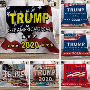 Trump Одеяла 130 * 150см флис Дональд Трамп Американских флагов Trump висячий Президент Флаг Выборы Зимние Пледы OOA8367