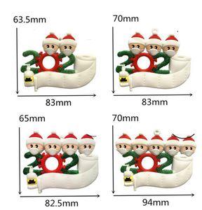 Рождественская елка Подвеска Survivor Карантин ПВХ маска Снеговик висячие Подвеска DIY Имя Приветствия украшение Новогоднее украшение GGA3751-1