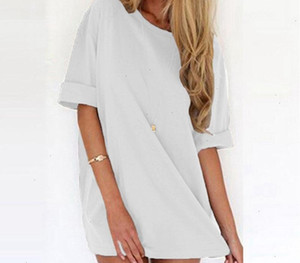 Summer Dress Woman Clothes Women Sexy Dress 2019 Summer Ladies Casual Loose Short Sleeve Solid Beach Plus Size Long Tops Vestidos66
