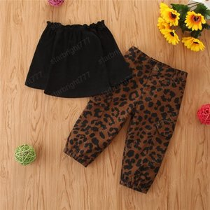 Autumn Fashion Kids Baby Girl Clothes Set Black Long Sleeve Off Shoulder T-shirt Tops + Leopard Pocket Cargo Pants Outfit 1-6Y