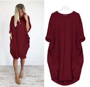 Nueva bolsillo de manga larga vestido de ropa femenina color sólido cuello redondo de gran tamaño vestidos ocasionales de las mujeres flojos del diseñador vestido de moda
