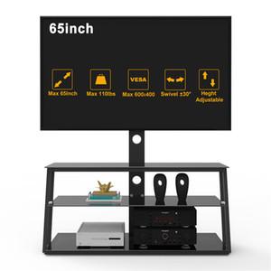 ABD Depo, 3-5 Gün Kargo, Çok Fonksiyonlu Siyah temperli cam TV Standı Salon Mobilya Açı Ve Yüksekliği Ayarlanabilir W24104953