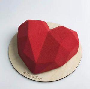 Shenhong 3D Diamond Love Heart Dessert gâteau Moule silicone Art Moule 3D Mousse cuisson Pâtisserie Silikonowe Moule Décoration