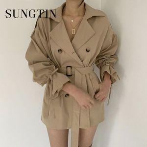 Sungtin коротких черные пальто для женщин Нового прибытия осени Трубы рукава Все Match Outwear Chic Casual Женского Хаки 2020