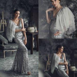 Материнство платья для фотосессии беременных женщин фотографии реквизита сшитое Weddiing Party Пижамы блестки для женщин Роскошные платья