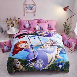 Girls Bed set Cartoon Bedding Set Princesses twin size 3pcs Bed Linens Sets Queen California King Duvet Cover Bedspread 4pcs 005