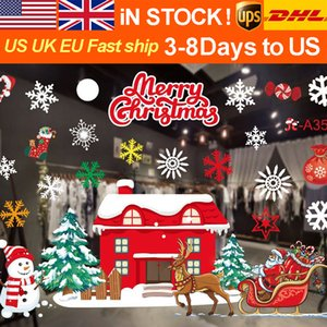 New Christmas cartoon pattern decoration color Christmas window paste white snowflake wall sticker window decoration traceless Window Sticke