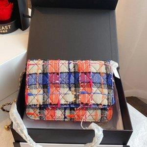 Donne Borse a tracolla a catena Cross Body Bag Messenger Bag rappezzatura di modo di colore Tweed Hardware C Lettera Lady rimuove il sacchetto di trasporto