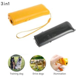 3 في 1 بالموجات فوق الصوتية LED PET DOG PLESTER STOP Dark Dog Training Trainer Device Anti Barking Flashlight 2 ألوان AAA464