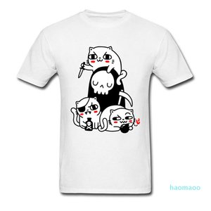 Fashion-Student Tops Shirt Hallowmas Death Cat Person Funny Tshirts Ostern Day Pure Cotton Round Neck Male Tshirts Best Gift Teeshirt