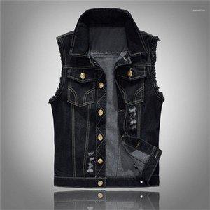 Artı Boyut Siyah Denim Jeans Yelek Kolsuz Erkek Kovboy Dış Mekan Homme ceketler Tasarımcı Erkekler Jeans Ceket Yelek Erkekler