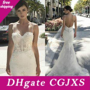 Netta Ben Shabu sirena de boda de los vestidos de Bohemia País 2019 apliques espaguetis ilusión de encaje Vestidos de novia volante vestido de novia sin espalda