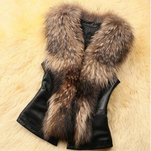 Women Leather Faux Fur Coat 2020 Casual Plus Size Sleeveless Faux Fur Collar Vest Winter Jacket Coat Women