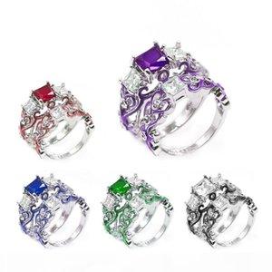 Luxo Feminino Zircon Praça Diamante Liga epóxi anel banhado prata Hot Sale Ring Set Casal Anel