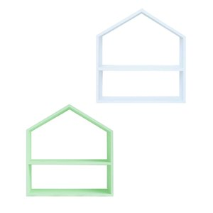شكل البيت كعكة خشبية حامل كب كيك حلويات الحرف اليدوية الأبيض + الأخضر