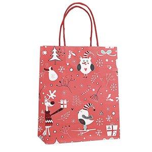 12pcs jolis sacs en papier Kraft Bonbonnière Noël Goodie Sacs papier imprimé Treat fête de mariage Décor