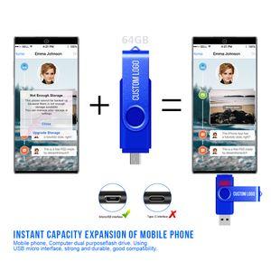 스마트 폰 Pendrive 64기가바이트 저장 장치 무료 사용자 정의 로고을 Freeshipping OTG USB 플래시 드라이브 CLE USB 스틱 64기가바이트 OTG 펜 드라이브
