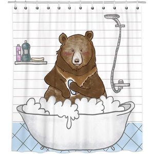 Black Bear Shower Curtains, Bathroom Style Cloth Shower Curtains in Bath, Cute Animal Bear White Bathroom Curtains Rings