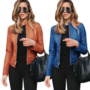 Brasão mulheres Jackets Autumn manga comprida Zipper Ladies PU Leather Jacket de forma magro Coats Blusão 12 cores 050825