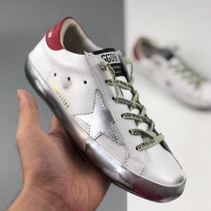 Com caixa de Moda de Ouro Superstars Gooses das sapatilhas das mulheres dos homens do clássico Branco Do-velho sujo Sapatos Sapatos casuais