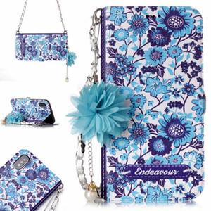 Per l'iphone 11 x pro max xr xs max 6 7 8 più fashion designer di fiori colorati stampa della cassa del raccoglitore di vibrazione del cuoio con tracolla a catena di perle